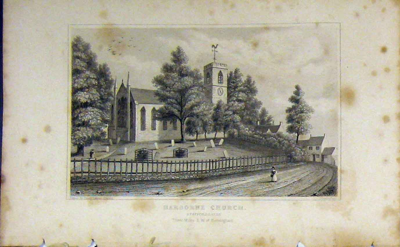 Print C1850 View Harborne Church Staffordshire England 959B207 Old Original