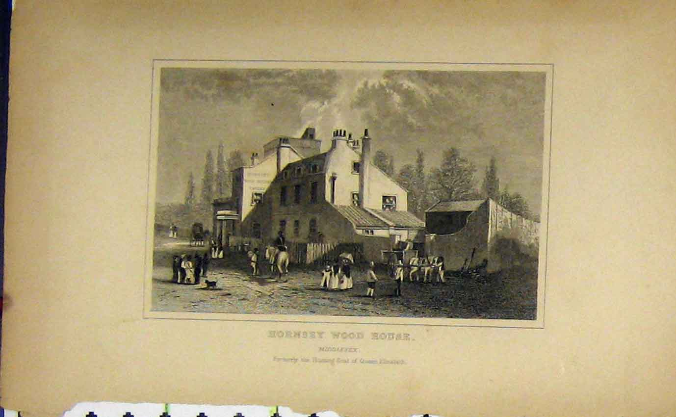 Print C1850 View Hornsey Wood House Middlesex Dugdales 963B207 Old Original