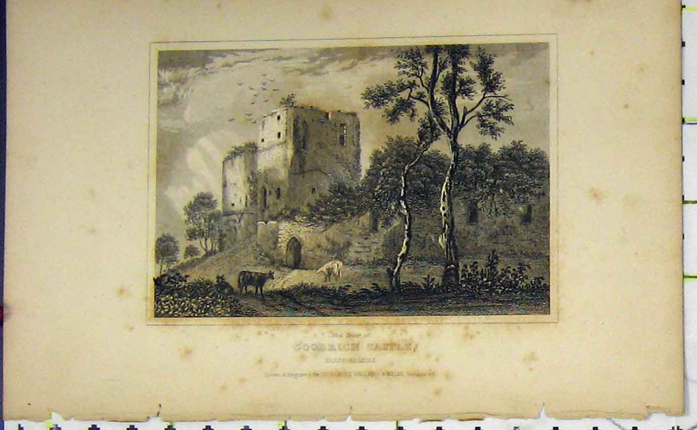 Print View West Tower Goodrich Castle Herefordshire C1850 964B207 Old Original