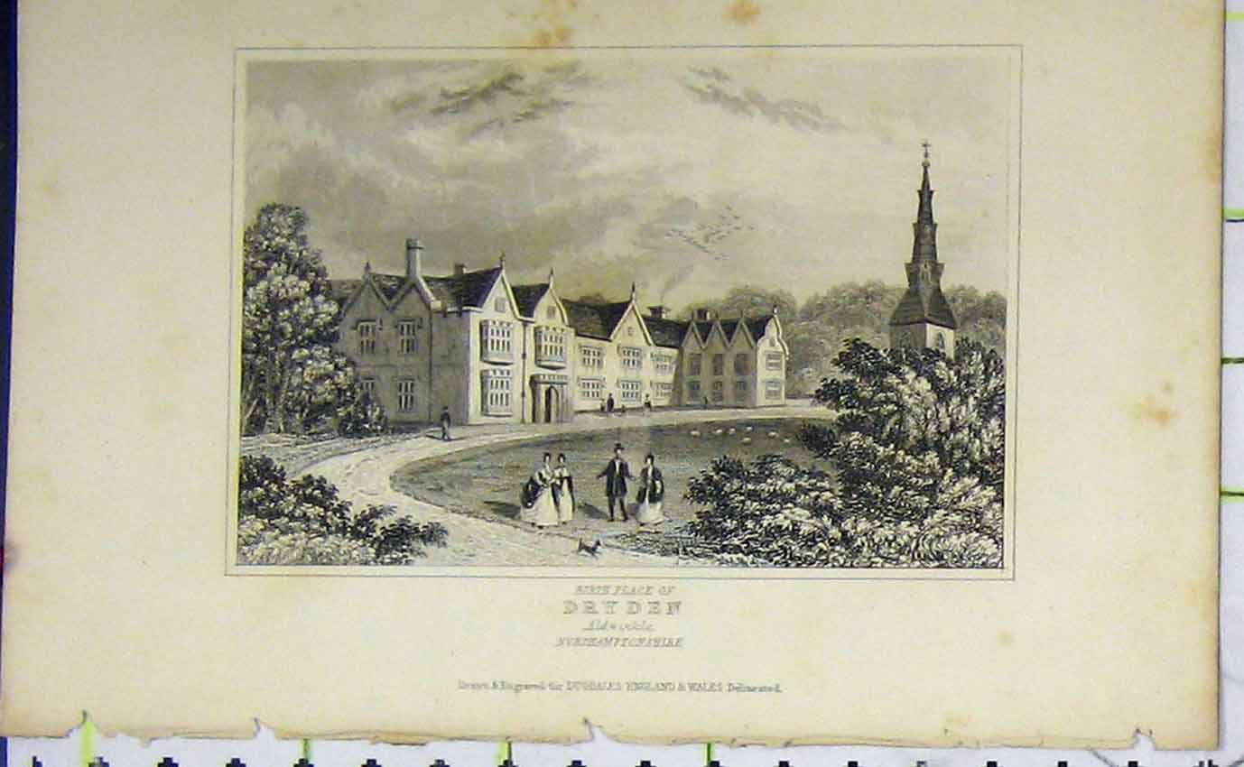 Print C1850 View Birth Place Dryden Aldwinkle Dugdales 966B207 Old Original