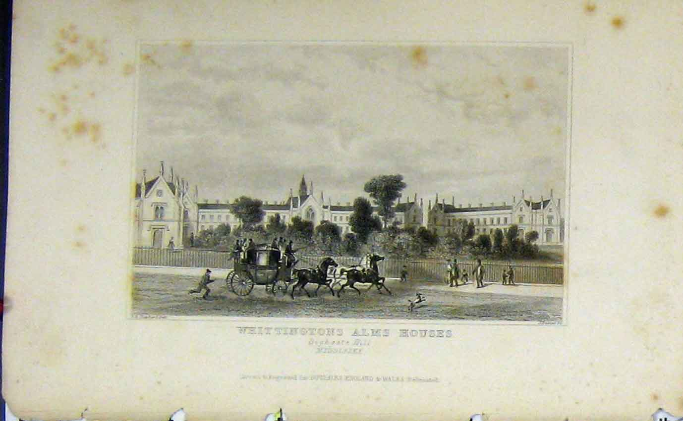 Print C1850 Whittington Alms Houses Highgate Hill Dugdales 968B207 Old Original