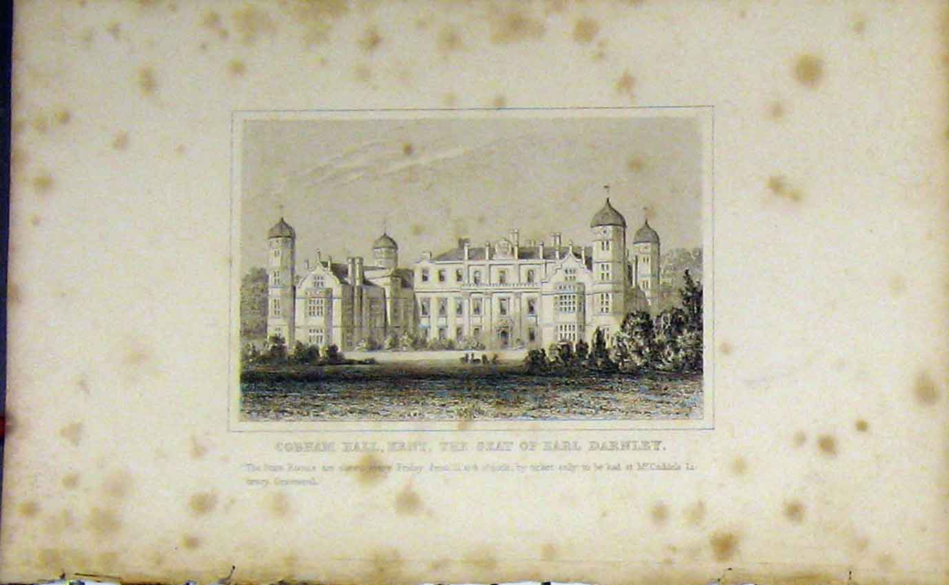 Print View Cobham Hall Kent Home Earl Darnley C1850 976B207 Old Original