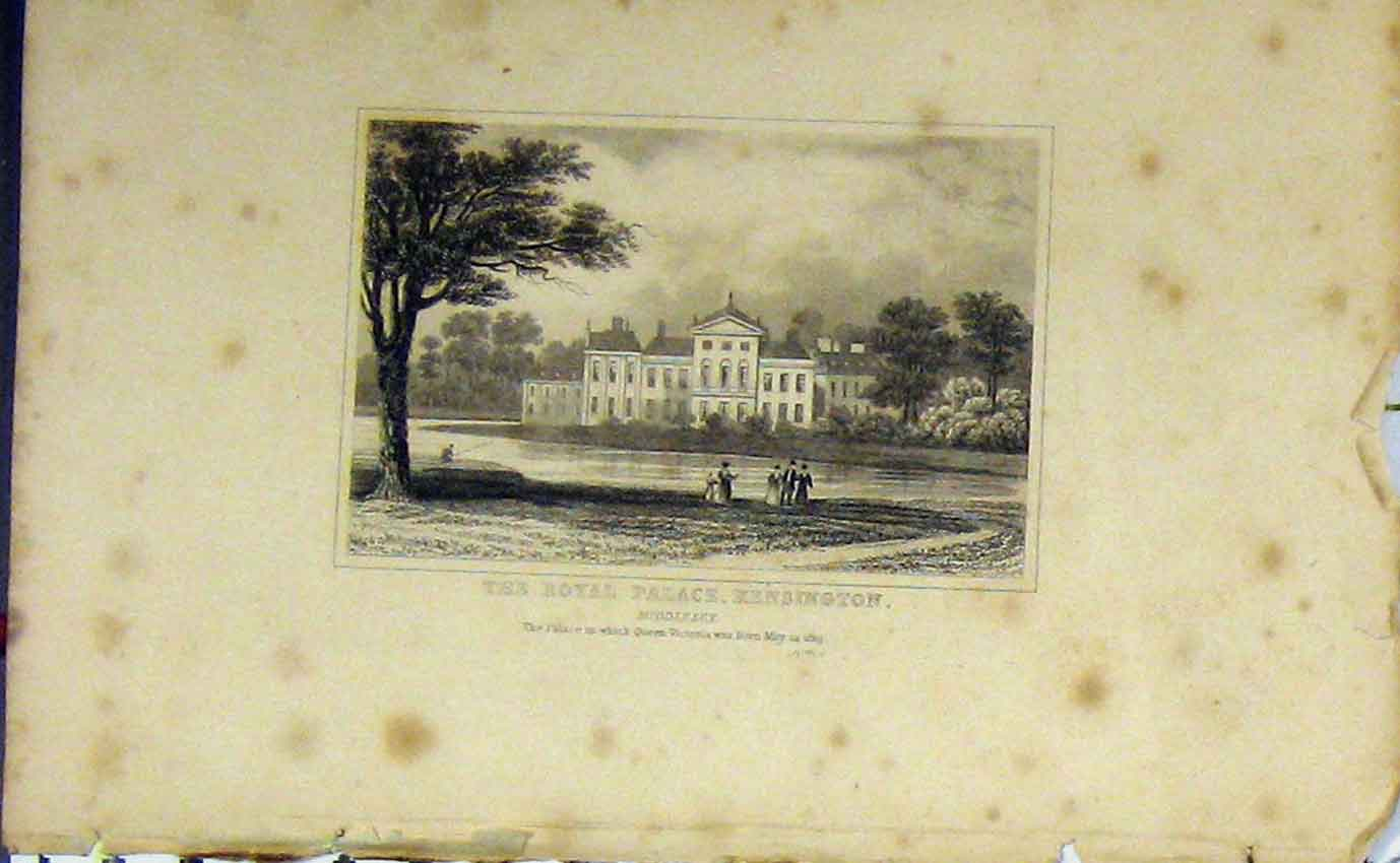 Print 1819 View Royal Palace Kensington Middlesex Victoria 977B207 Old Original