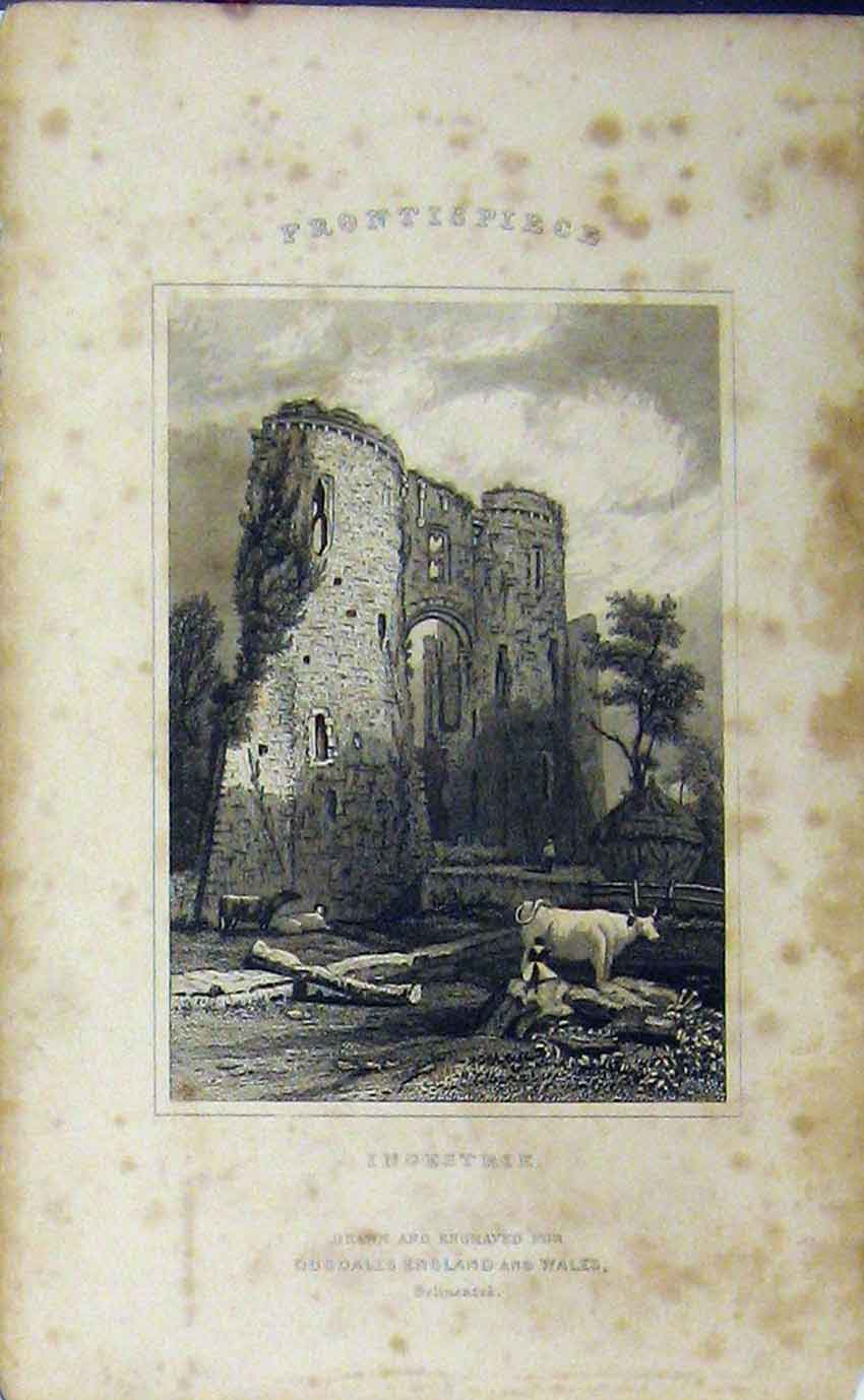 Print C1850 View Ingestrie Ruins Church Dugdales 979B207 Old Original