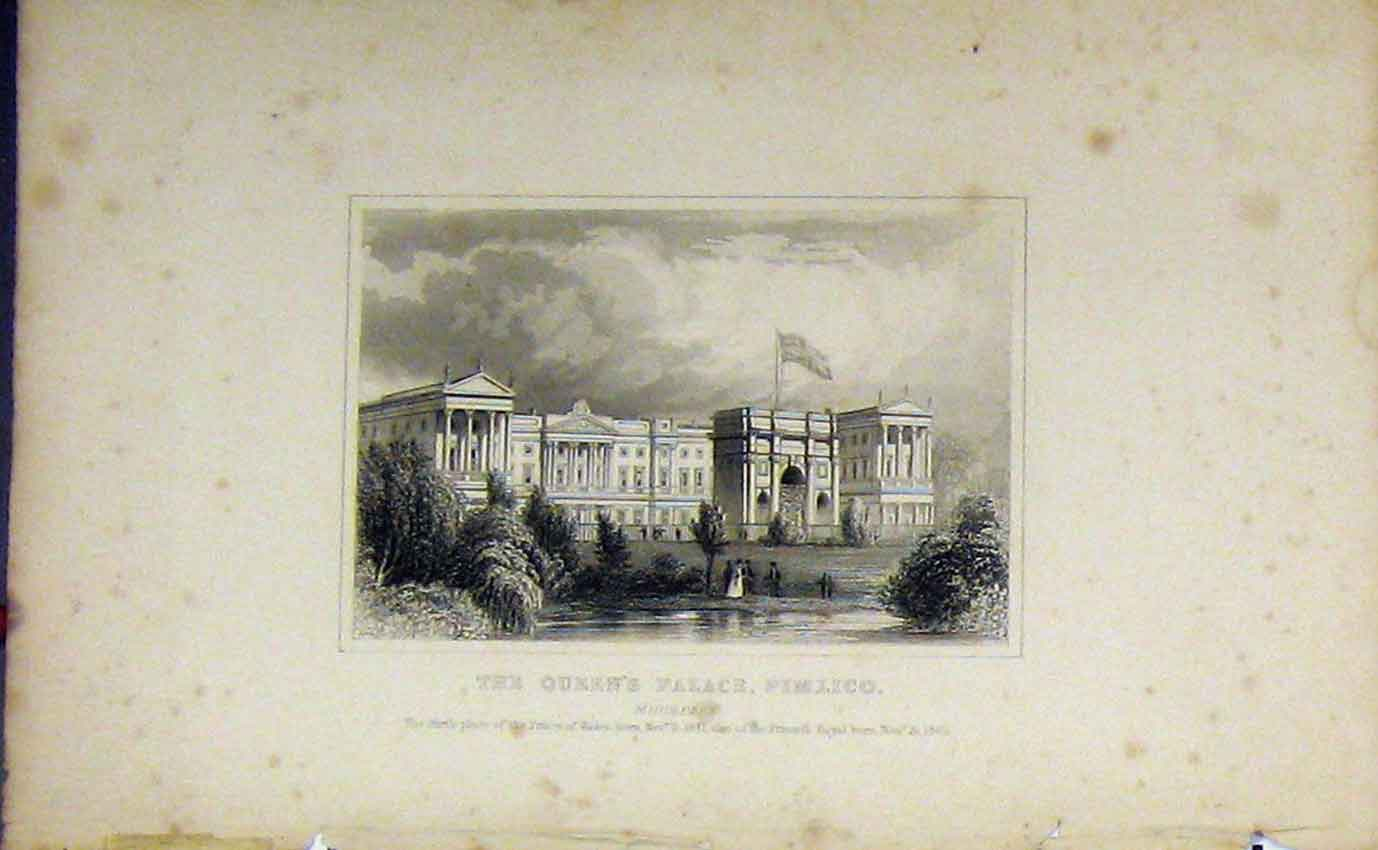 Print 1840 Dugdales Queens Palace Pimlico Middlesex 984B207 Old Original