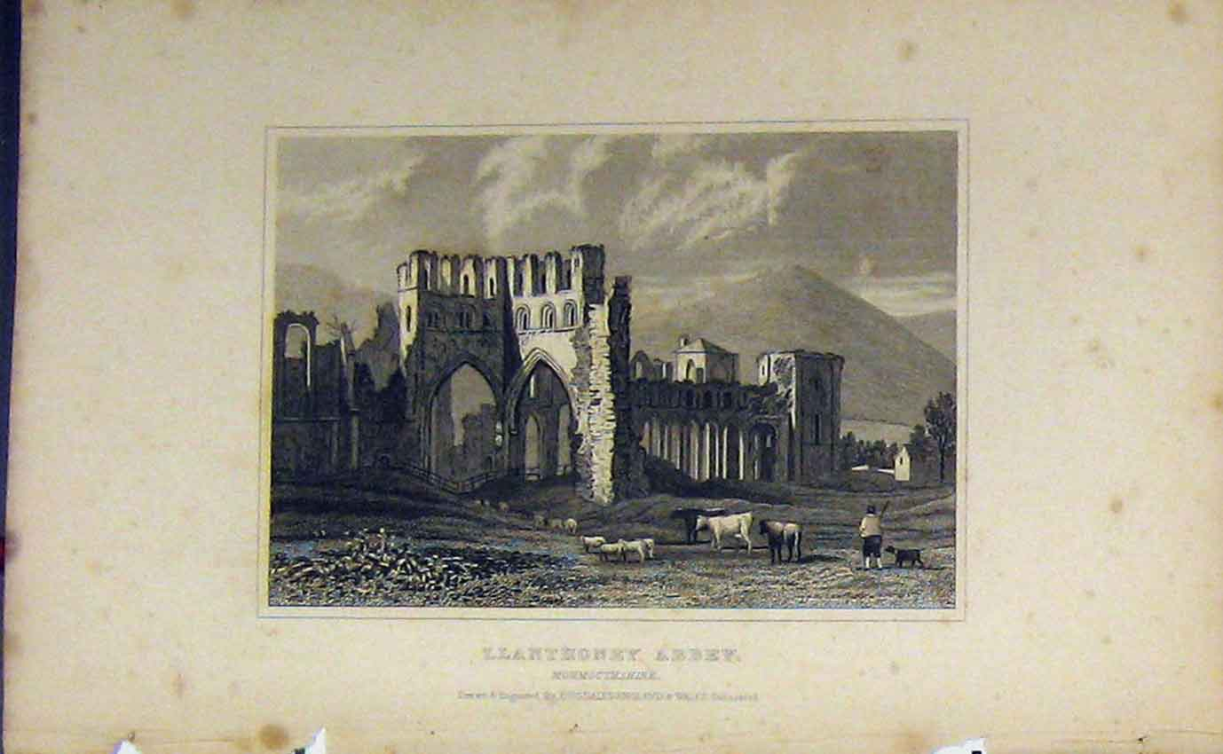 Print C1850 View Llanthoney Abbey Monmouthshire Dugdales 992B207 Old Original