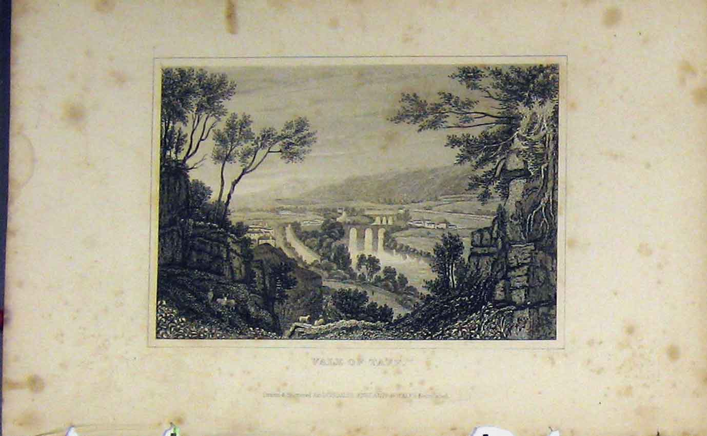 Print C1850 Vale Taff Bridge River Dugdales 997B207 Old Original