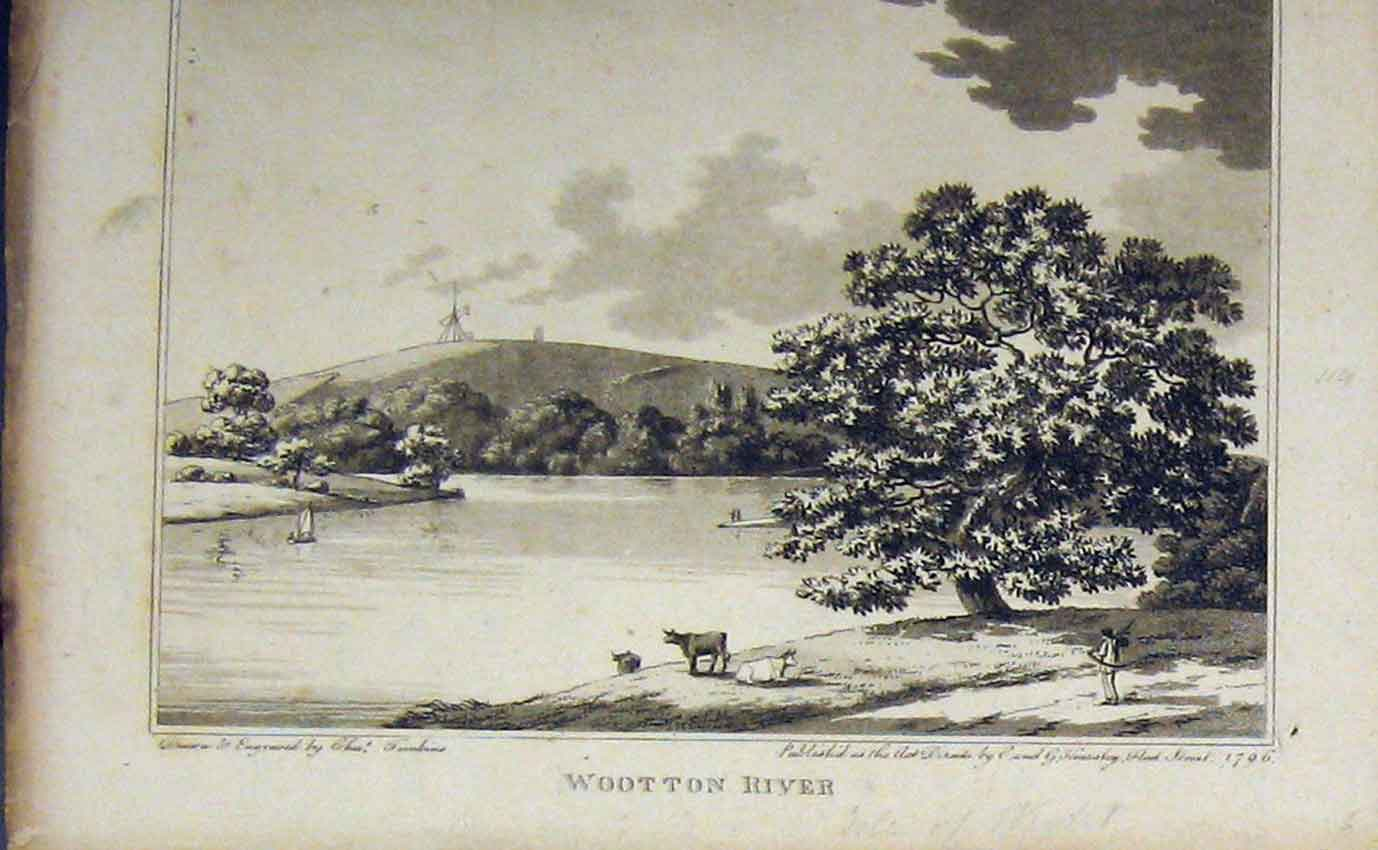 Print 1796 Country View Wootton River Boat 998B207 Old Original
