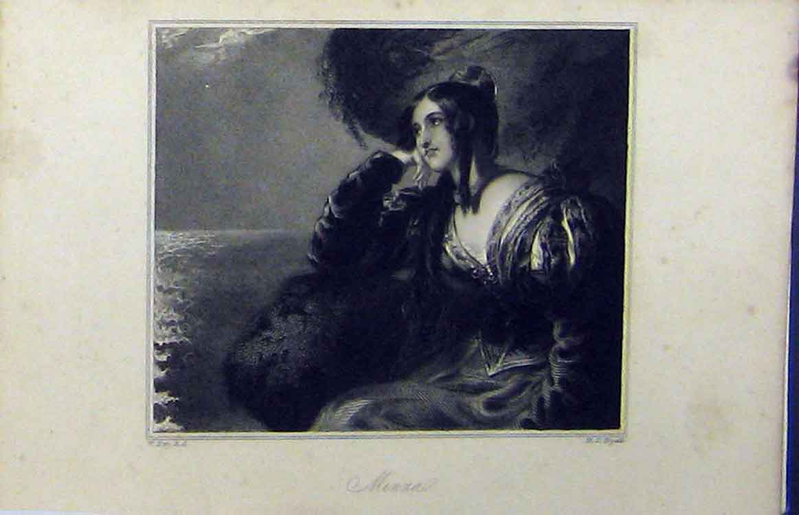 Print C1850 Steel Engraving Portrait Minna Lady Ryall 812B208 Old Original