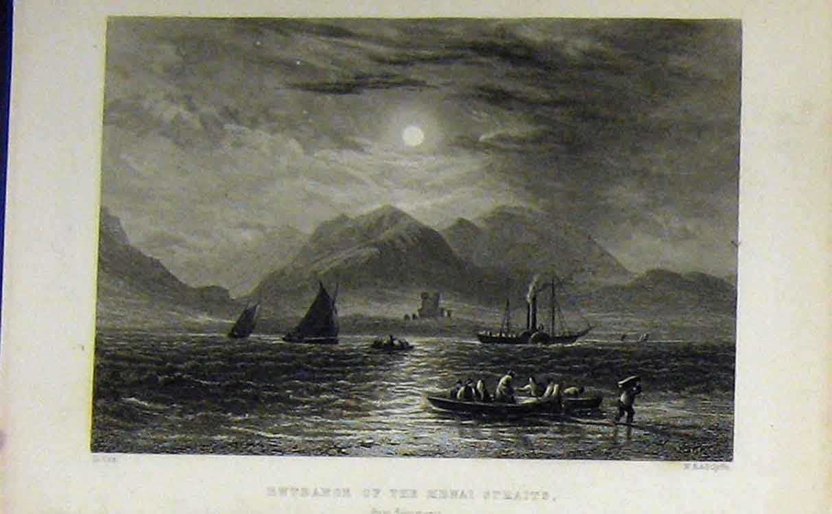 Print C1850 View Entrance Menai Straits Ship Moonlight 706B209 Old Original