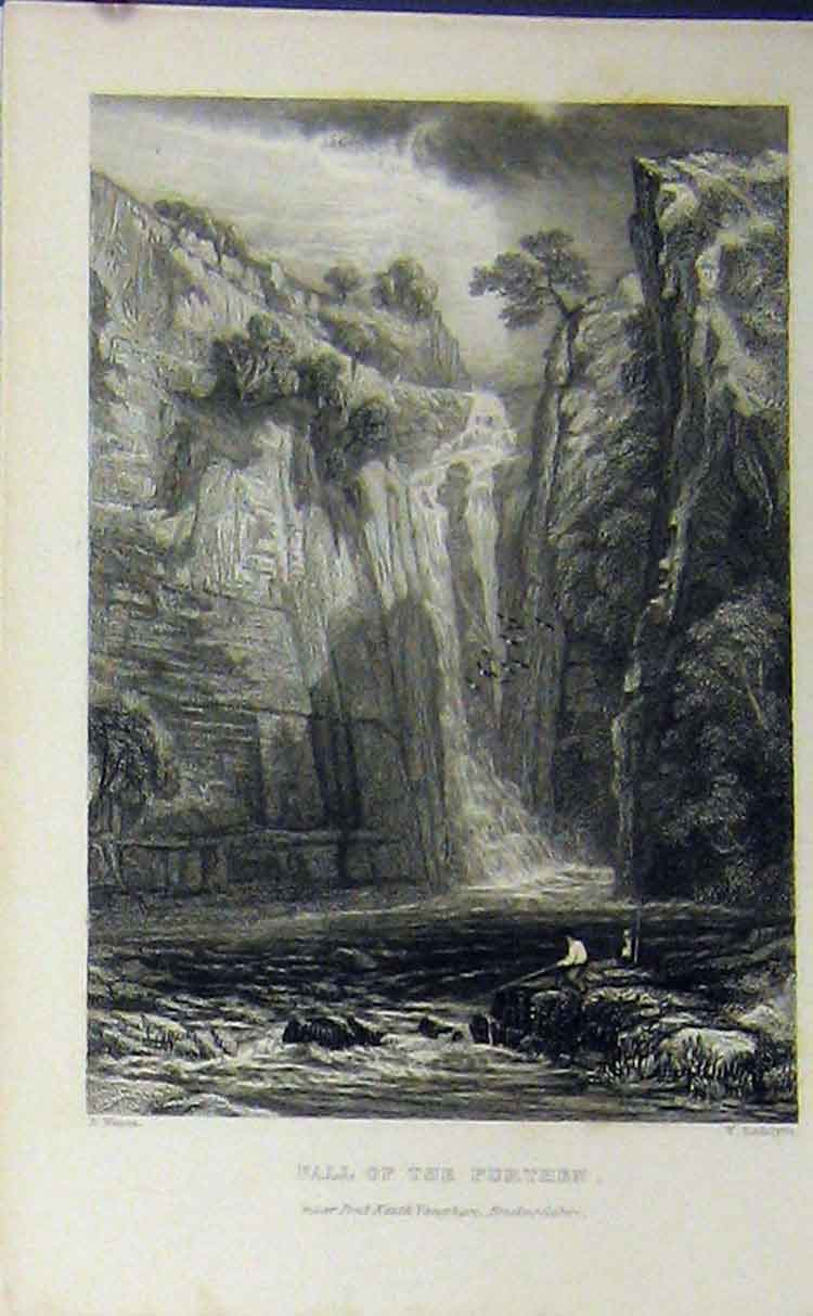 Print C1850 Waterfall Purthen Brecknockshire River Fishing 711B209 Old Original