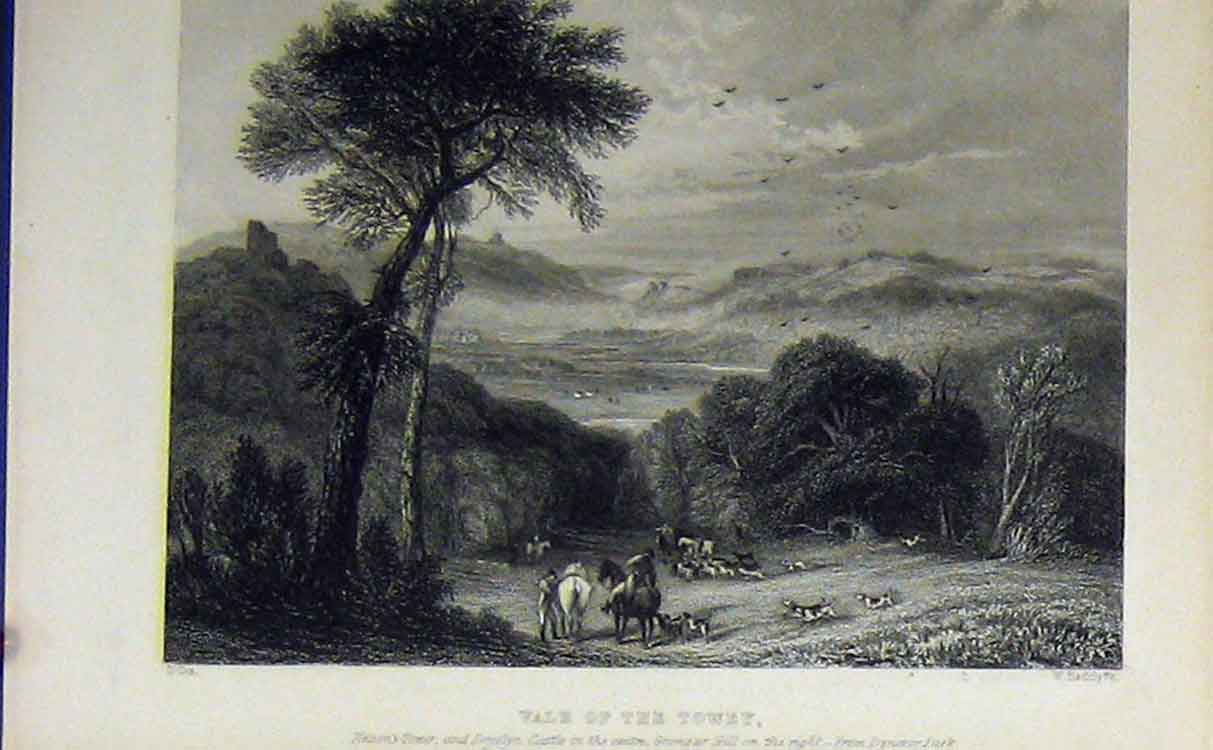 Print C1850 View Vale Towey Nelson Tower Castle Grongar Hill 712B209 Old Original