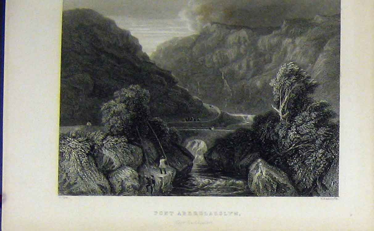 Print View Pont Aberglasslyn C1850 Mountain River Bridge 713B209 Old Original