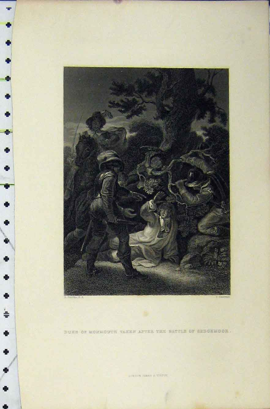 Print C1850 Duke Monmouth Battle Sedgemoor War Scene Sherratt 207B211 Old Original