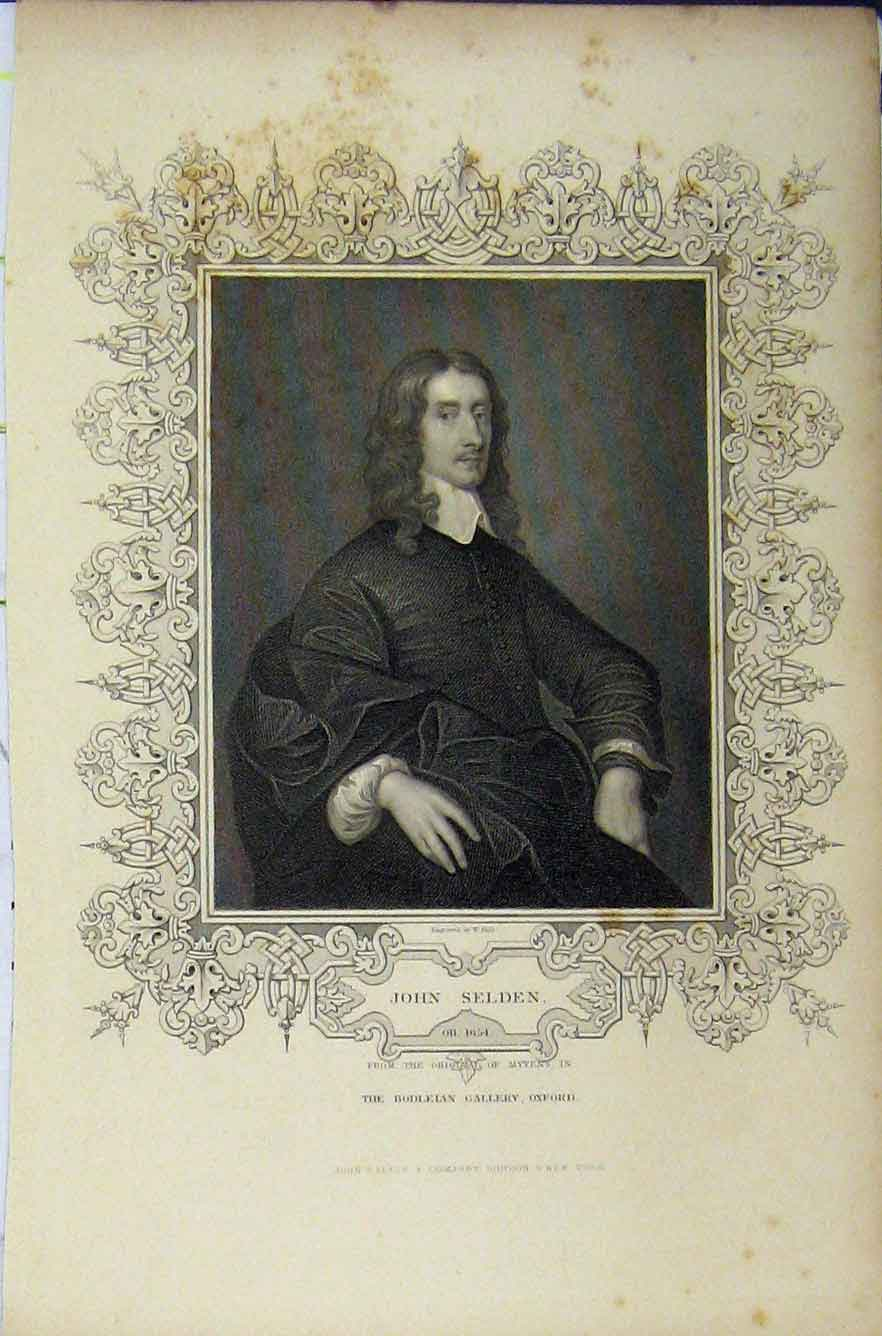 Print C1850 Portrait John Selden Bodleian Gallery Oxford 231B211 Old Original