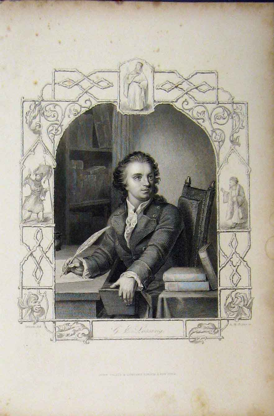 Print C1850 Steel Engraving Portrait Lessing Payne 240B211 Old Original