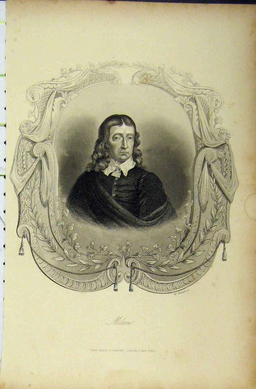 Print C1850 Steel Engraving Portrait Milton French 244B211 Old Original