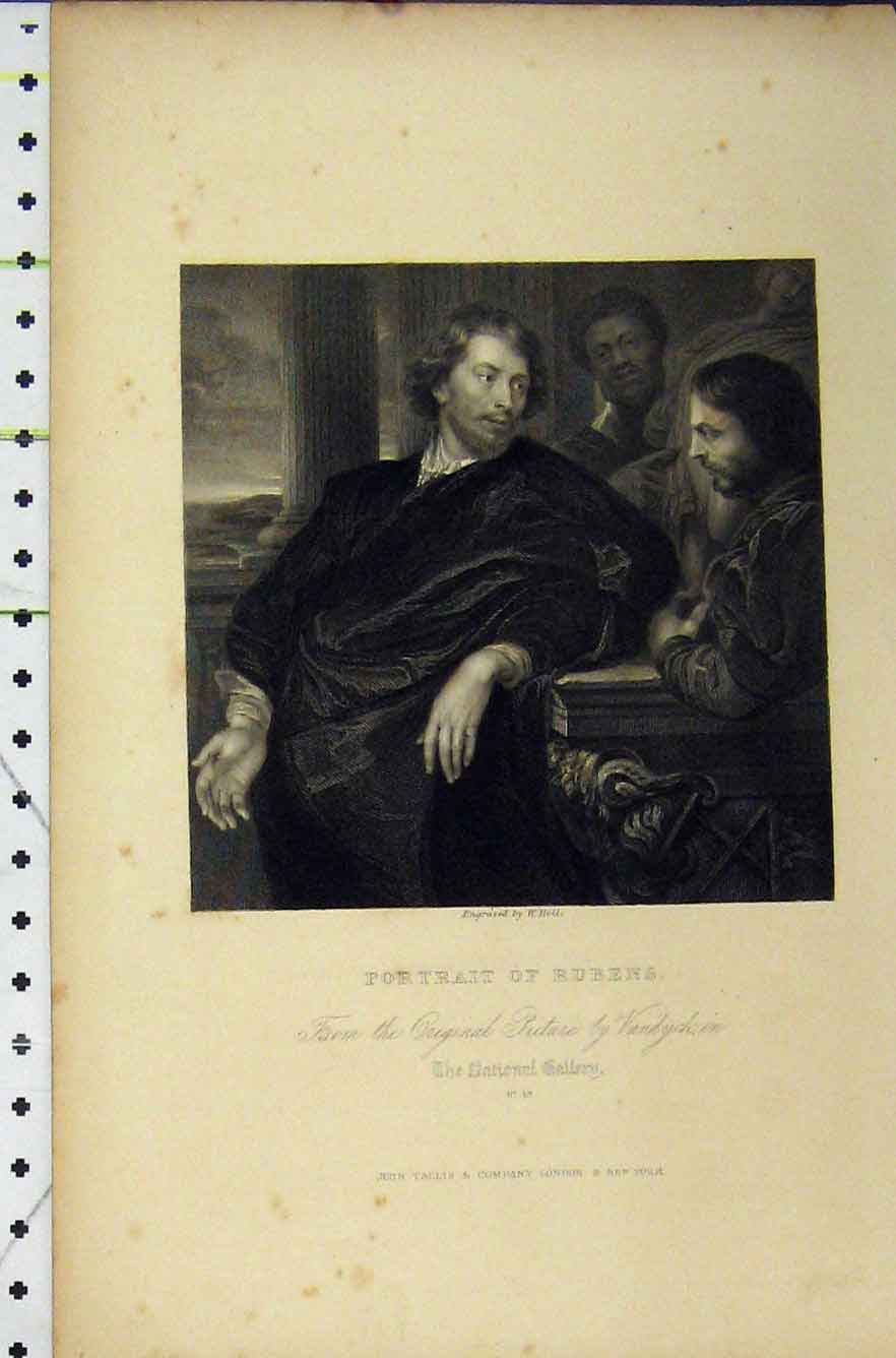 Print Engraving Portrait Rubens National Gallery C1850 Holl 251B211 Old Original