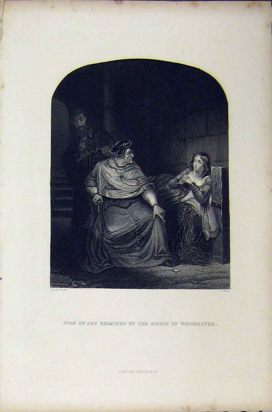 Print Scene Joan Arc Bishop Winchester C1850 Engraving White 260B211 Old Original