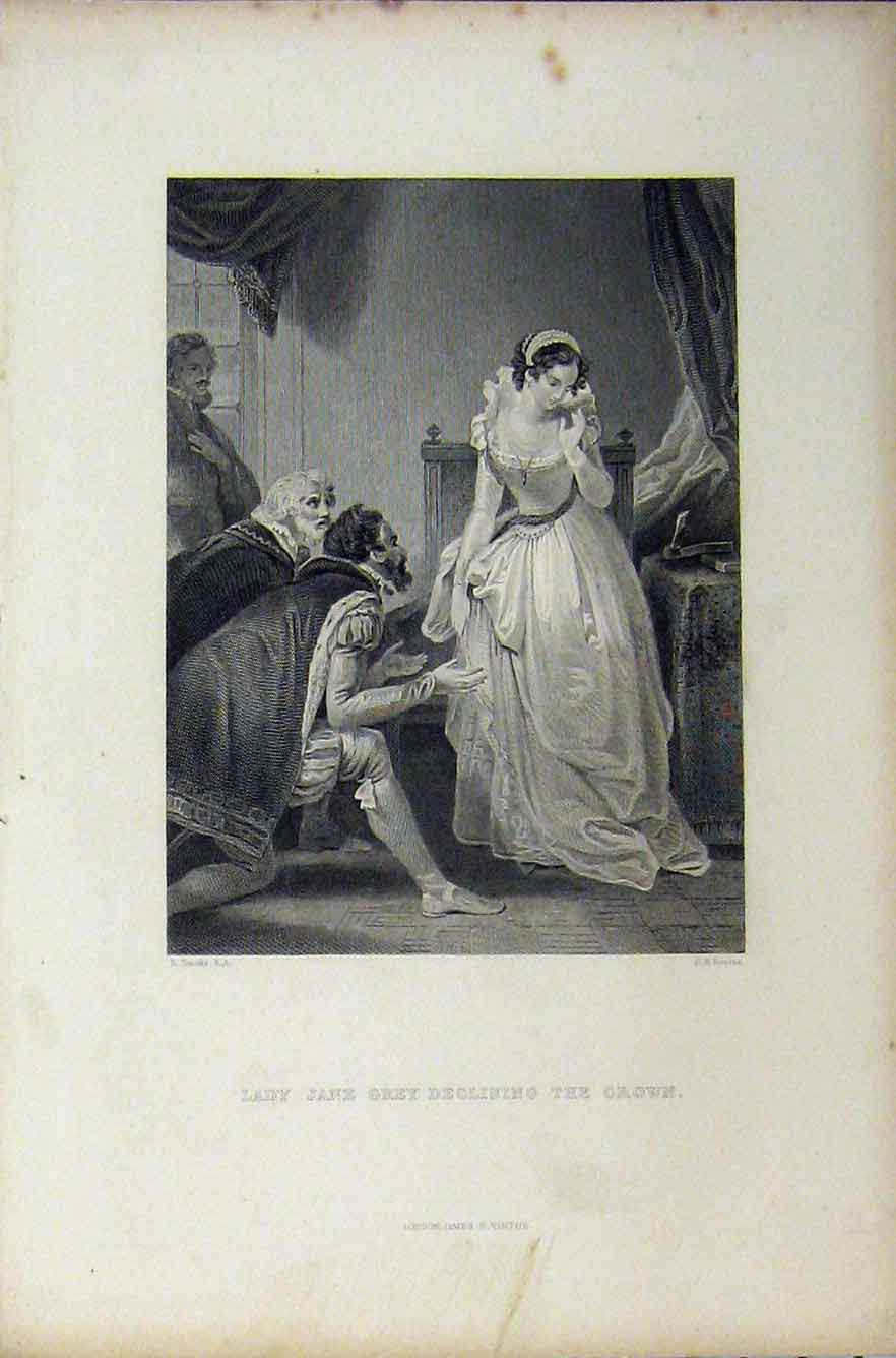 Print C1850 Scene Lady Jane Grey Declining Crown Bourne 262B211 Old Original