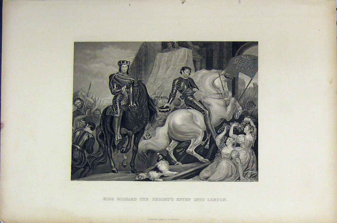 Print Scene King Richard Ii Entry London Horse C1850 Engraved 272B211 Old Original