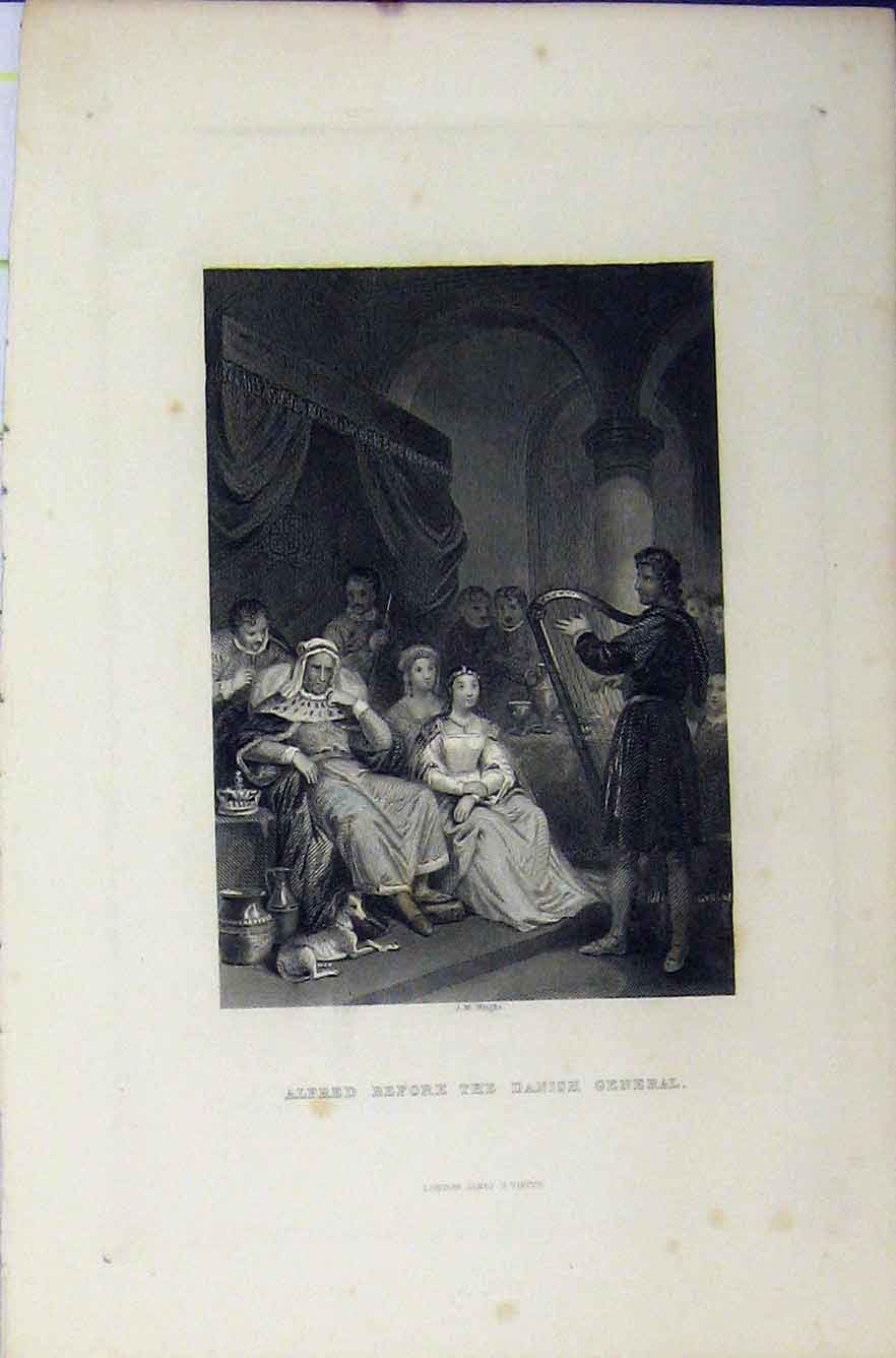 Print C1850 Alfred Before Danish General Steel Engraving 288B211 Old Original