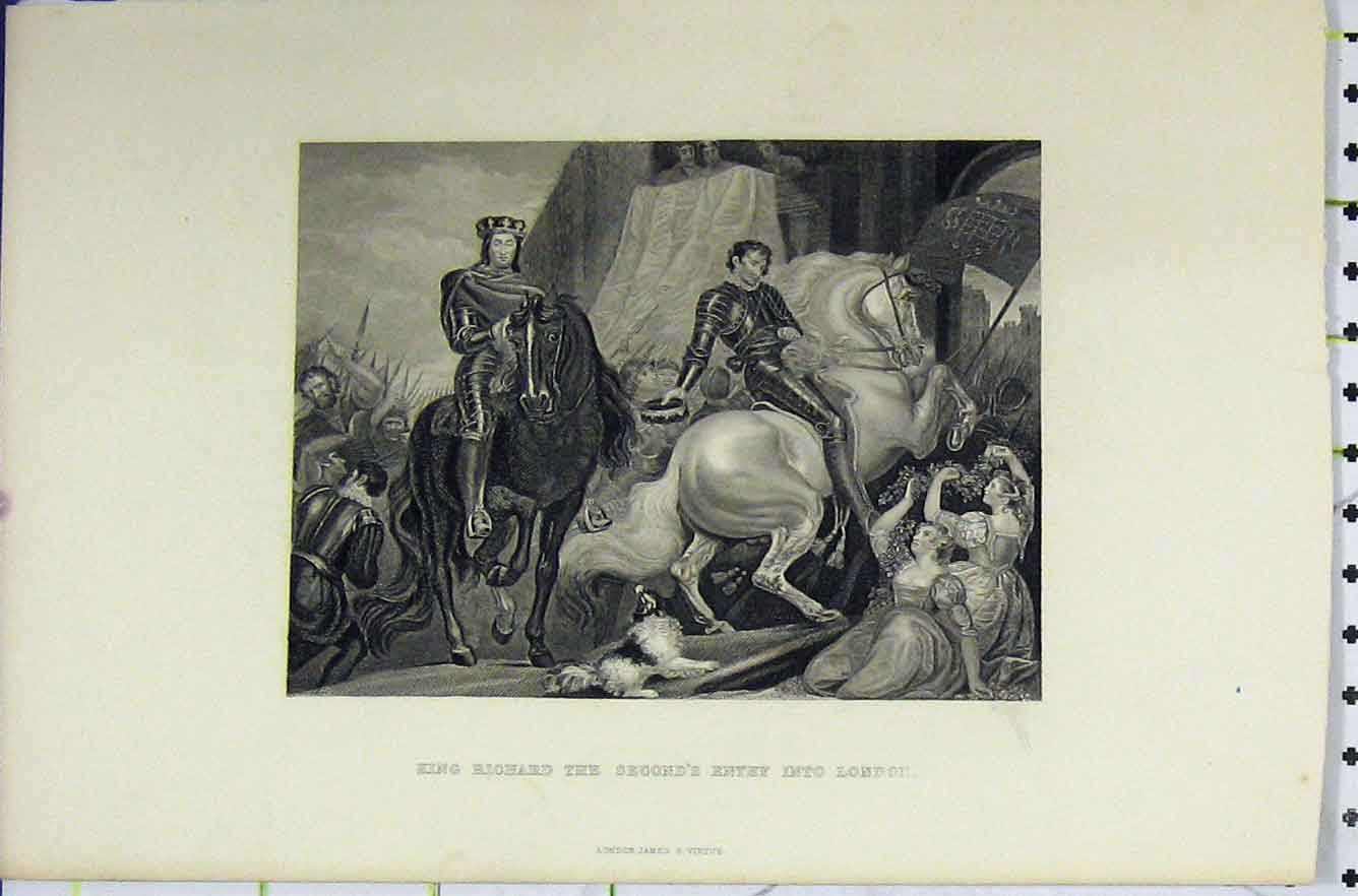Print C1850 King Richard Ii Entry London Horse Soldiers 291B211 Old Original