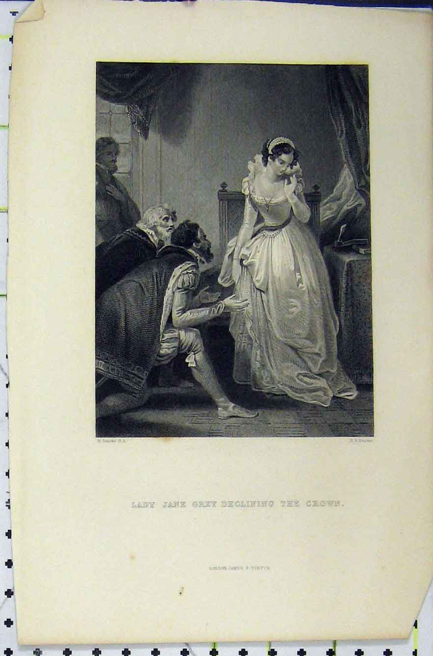 Print Scene Lady Jane Grey Declining Crown C1850 Bourne 312B211 Old Original