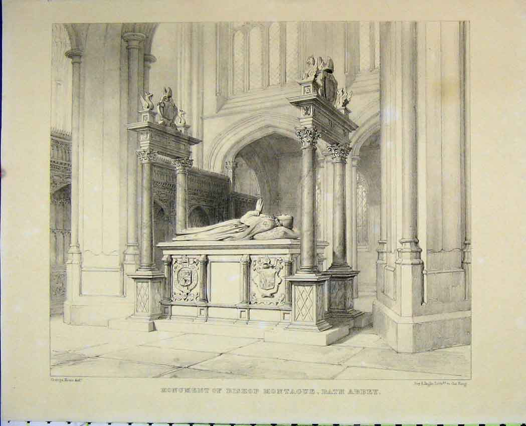 Print C1850 Monument Bishop Montague Bath Abbey Engraving 501B212 Old Original