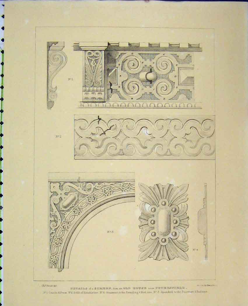 Print C1850 Details Screen House Panneling Architecture 510B212 Old Original