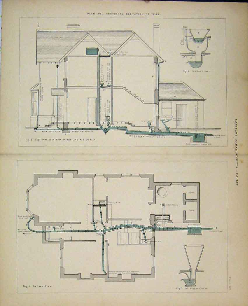 Print C1850 Plan Sectional Elevation Villa Faulty Sanitary 521B212 Old Original