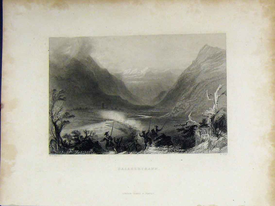 Print C1850 Steel Engraving View Salabertrann Mountains 420B213 Old Original