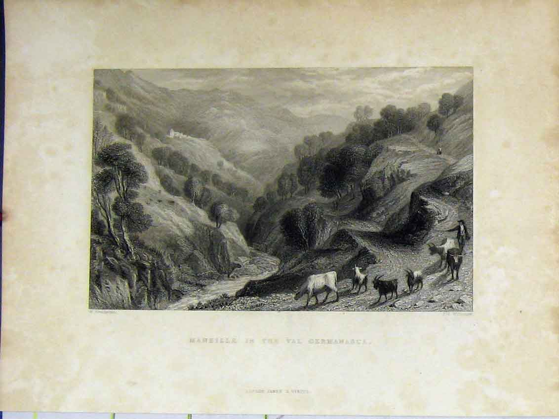 Print View Maneille Val Germansca C1850 Mountain Scene Italy 425B213 Old Original