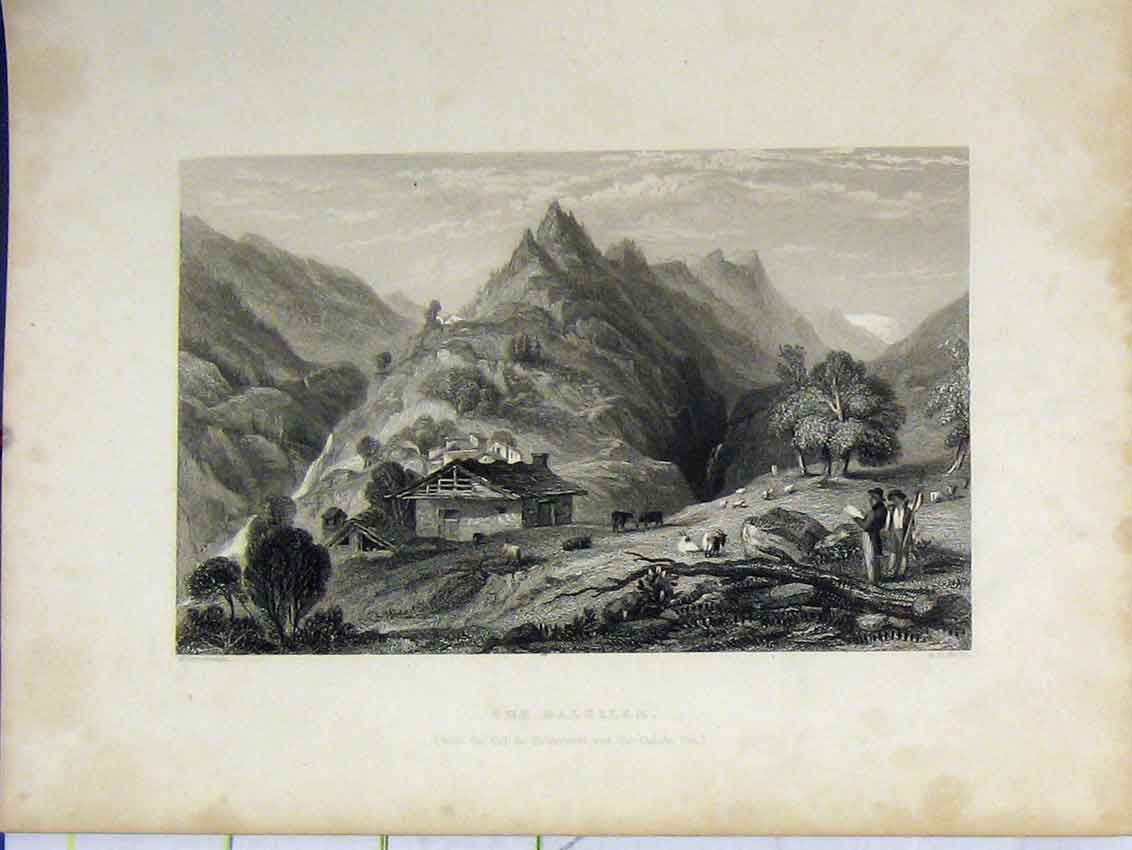 Print Mountain View C1850 Balsille Steel Engraving Smith 425Bb213 Old Original
