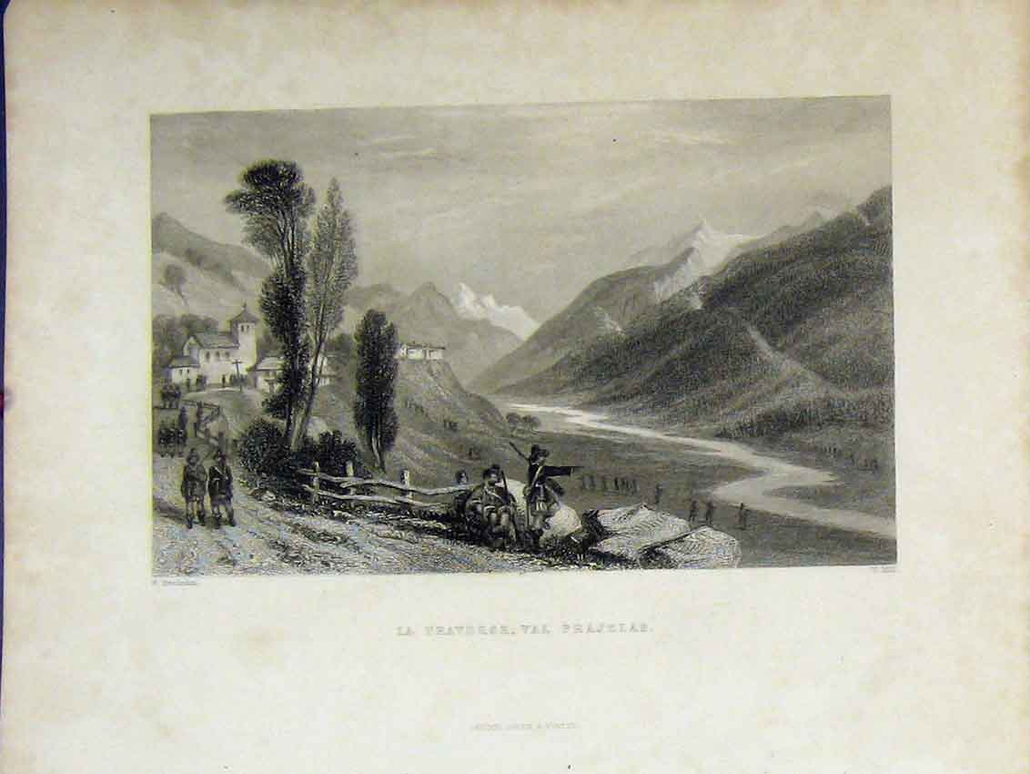 Print Mountain Scene C1850 La Traverse Val Prajelas Hill 426B213 Old Original