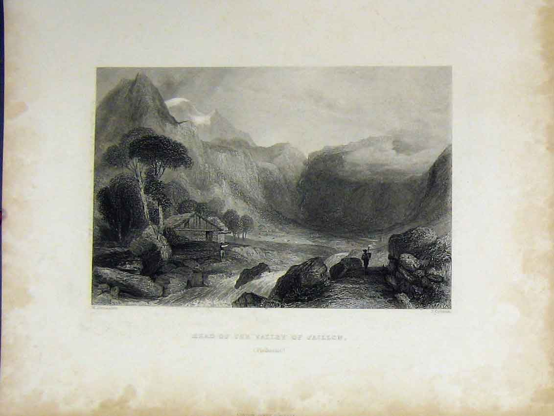 Print C1850 Mountain Scene Head Valley Jaillon Piedmout 429B213 Old Original