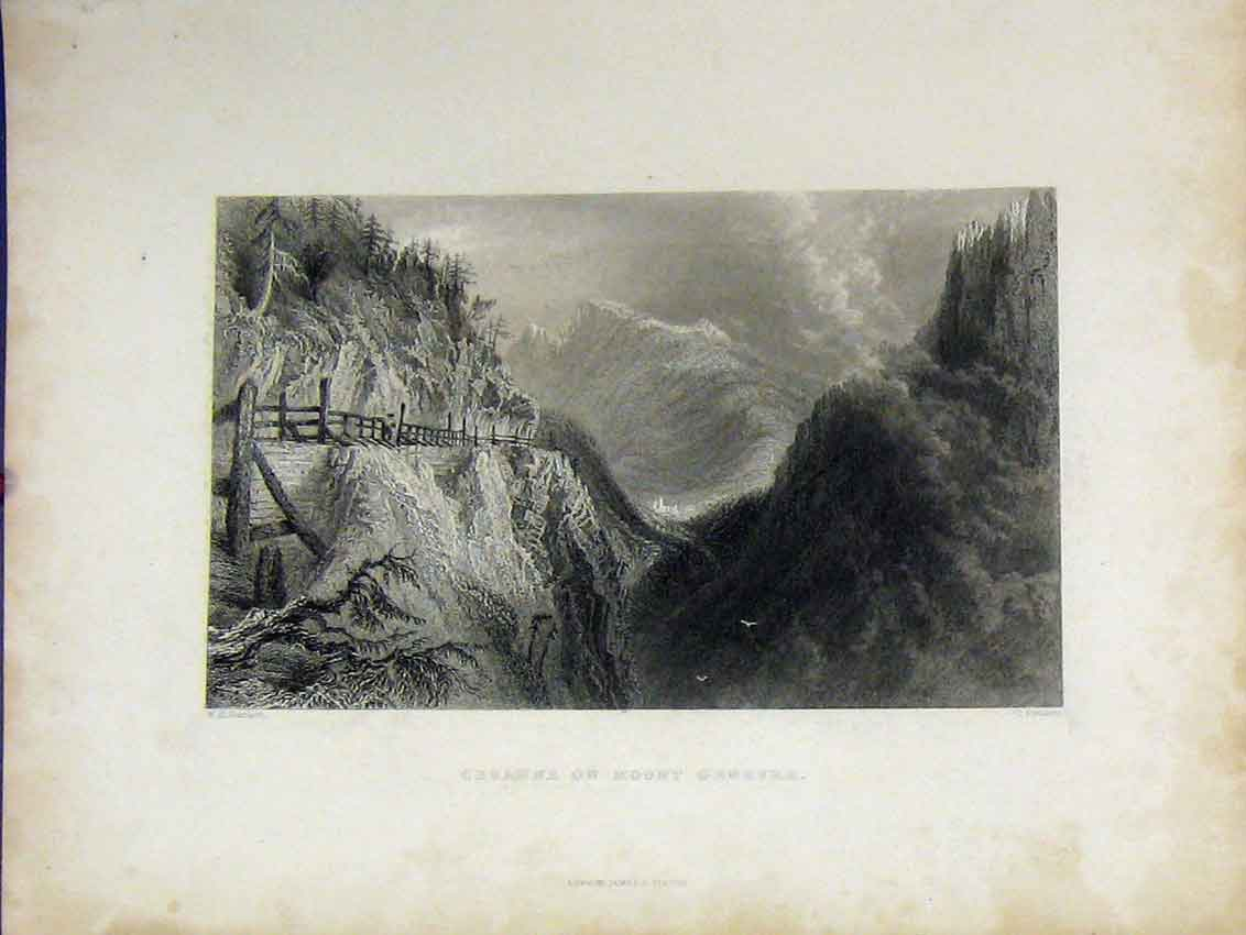 Print Mountain Scene C1850 View Cesanne Mount Genevre Cousen 437B213 Old Original