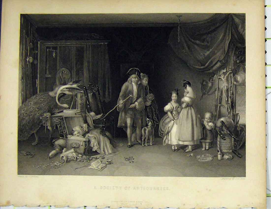 Print C1850 Scene Society Antiquaries Children Animals Dean 412B214 Old Original