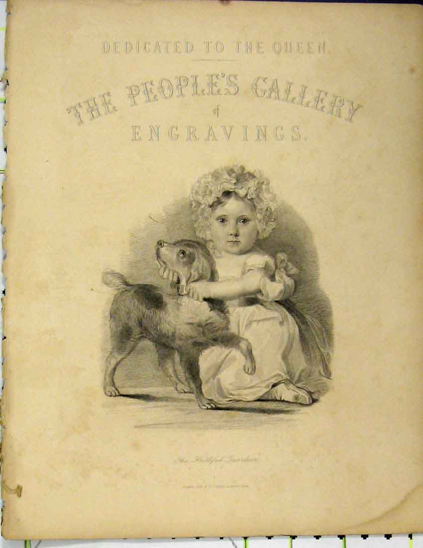 Print 1844 Peoples Gallery Young Girl Playing Puppy Dog 414B214 Old Original