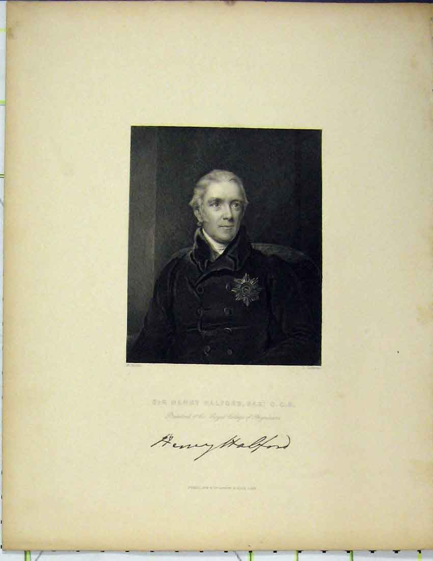 Print Portrait Sir Henry Halford Steel Engraving Cochran 1844 309Bb215 Old Original