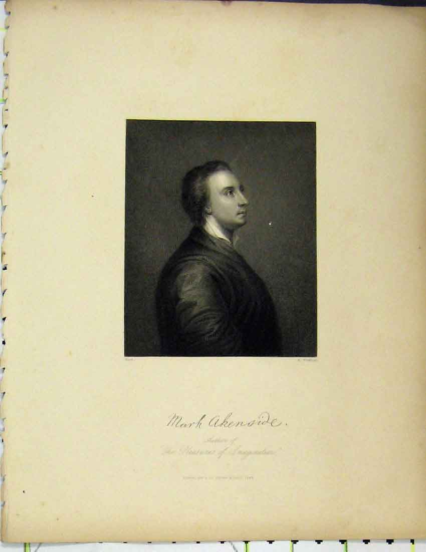Print Mark Akenside 1844 Portrait Pleasures Imagination Book 312B215 Old Original