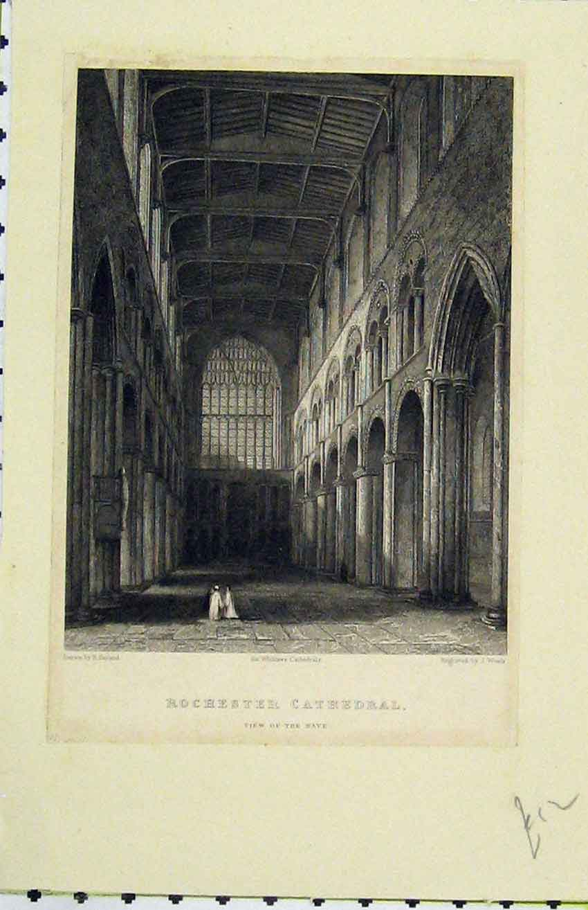 Print C1850 View Nave Rochester Cathedral Winkles Cathedral 206B216 Old Original
