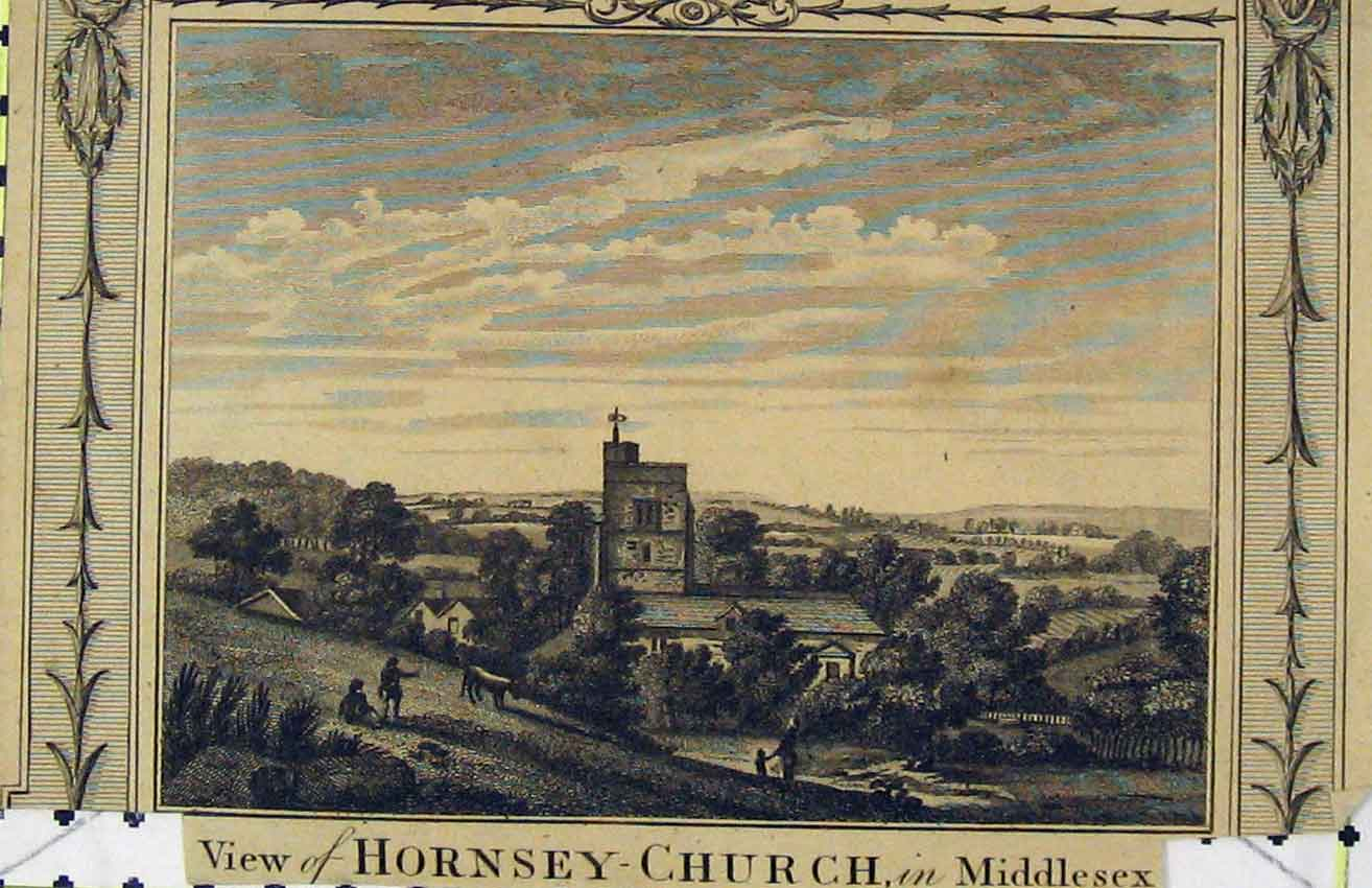 Print Steel Engraving C1850 View Hornsey Church Middlesex 208B216 Old Original