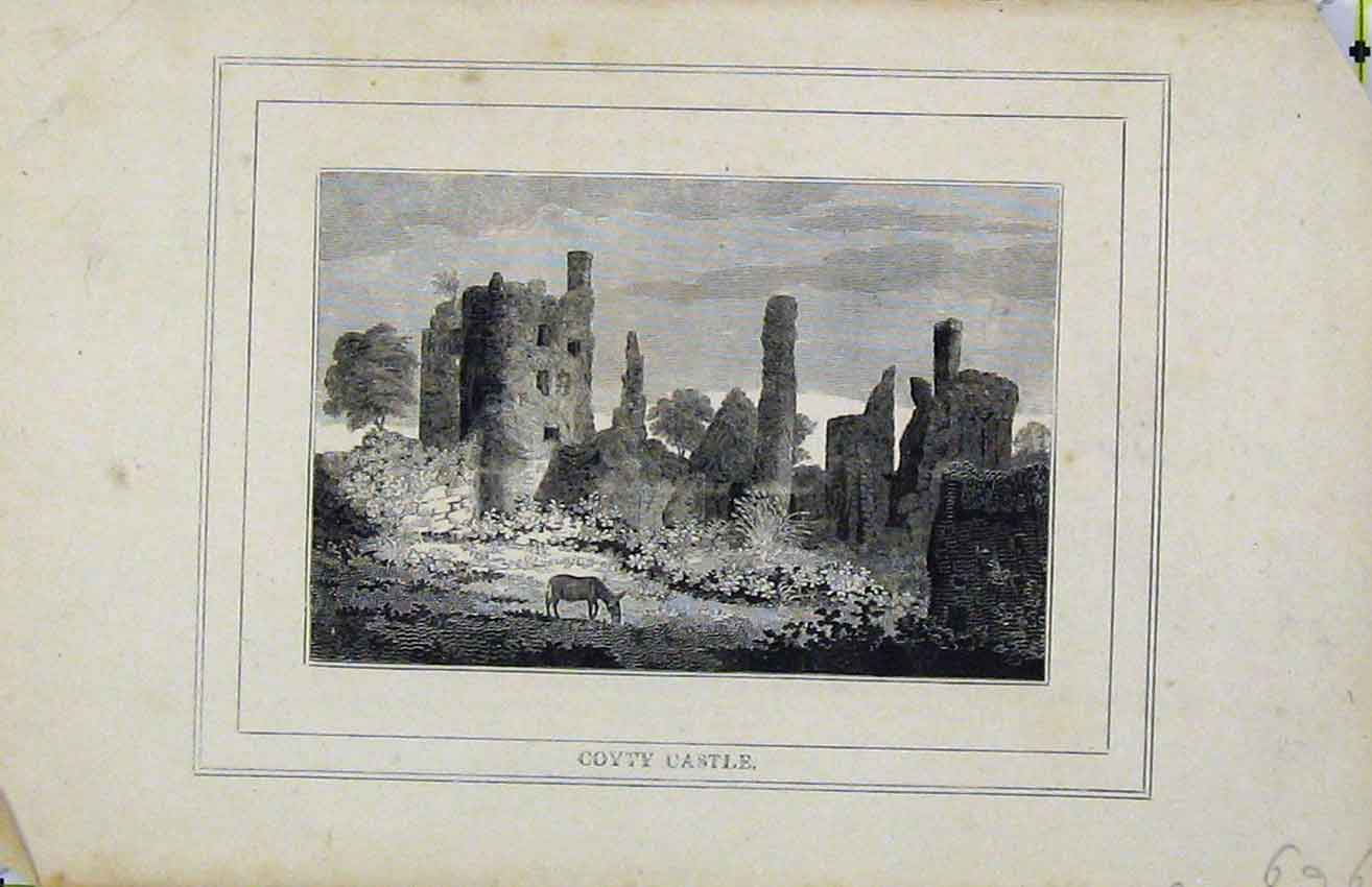 Print C1850 Steel Engraving View Coyty Castle Ruins Donkey 209B216 Old Original
