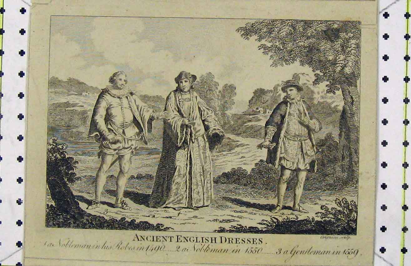 Print C1850 Steel Engraving Ancient English Dresses Bankes 227B216 Old Original