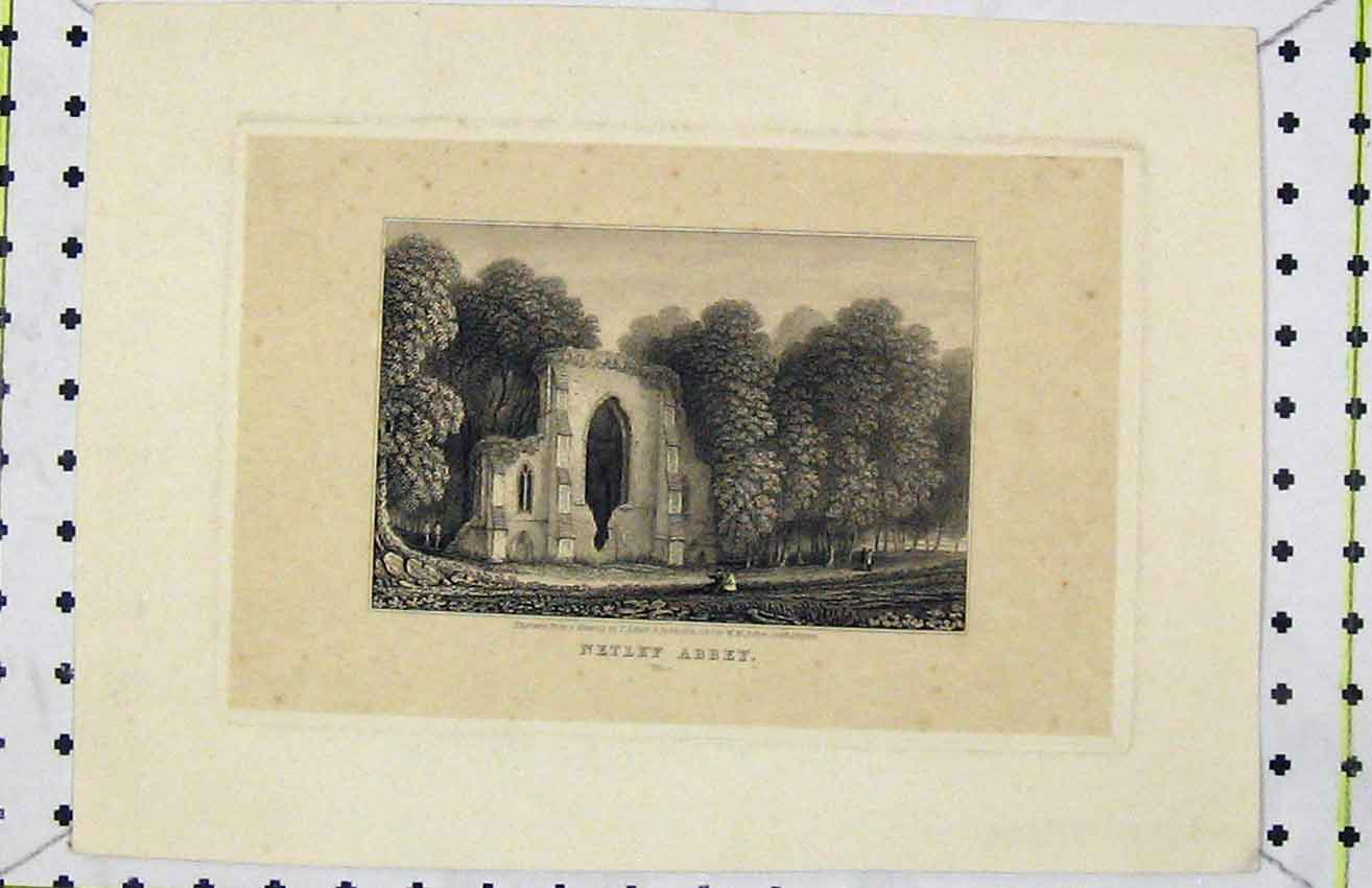 Print 1823 View Netley Abbey Ruins Country Engraved Baker 234B216 Old Original