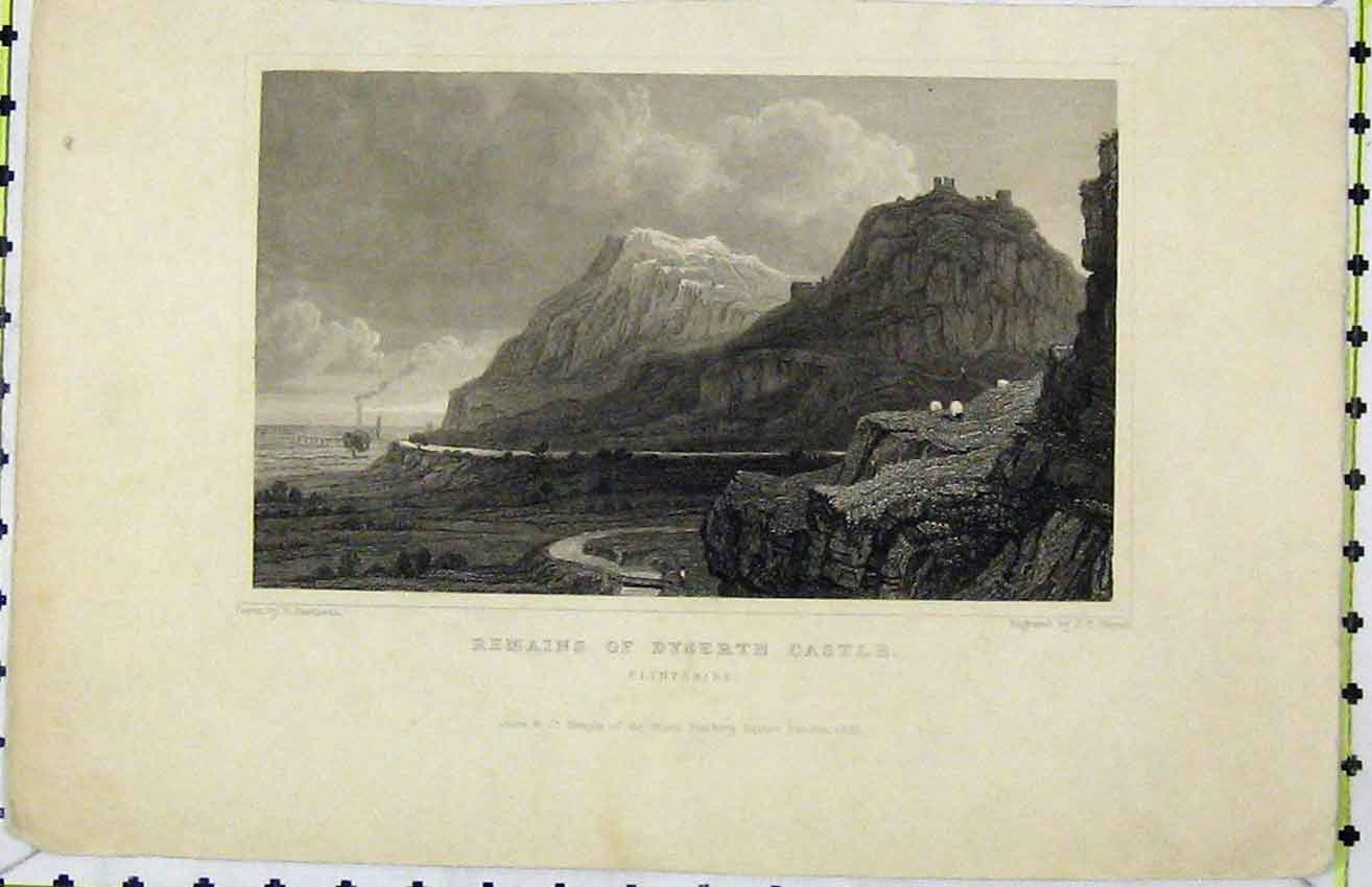 Print 1831 View Remains Dyserth Castle Flintshire Varrall 237B216 Old Original