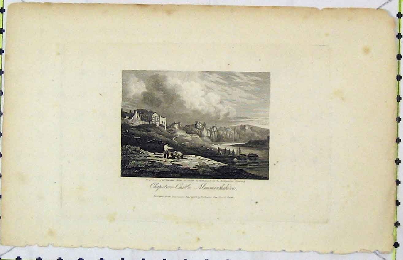 Print 1816 View Chepston Castle Monmouthshire Varrall 250B216 Old Original