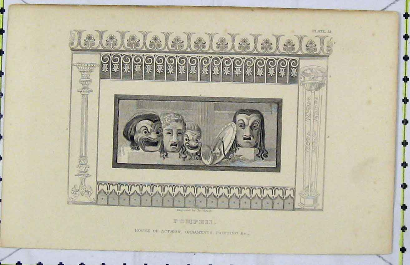 Print Pompeii House Ornaments Painting Masks C1850 Chas Heath 261B216 Old Original