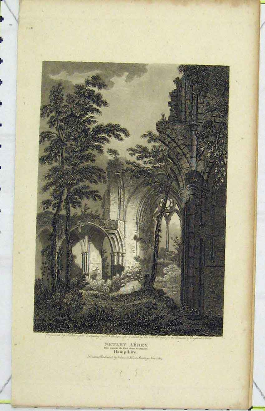 Print 1808 View North-East Aspect Netley Abbey Hampshire 265B216 Old Original